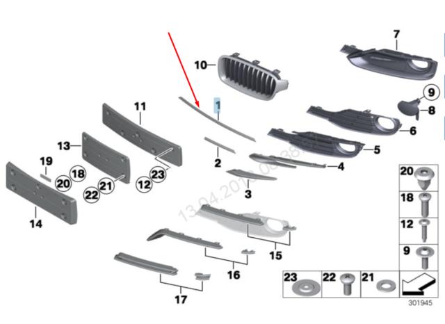 Baguette et bande protectrice, grille de radiateur  F30