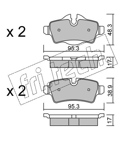 Jeu de 4 plaquettes de frein arrière MINI R56/R60