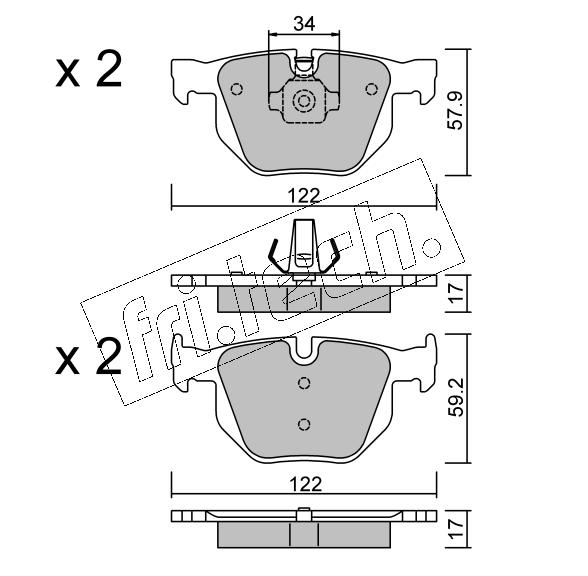 Jeu de 4 plaquettes de frein arrière BMW X5 (F15)/ X6 (F16)