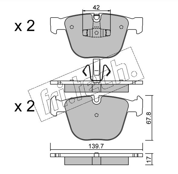 Jeu de 4 plaquettes de frein arrière BMW F07/F01