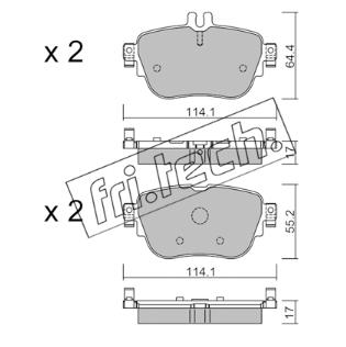 Jeu de 4 plaquettes de frein arrière MERCEDES W213/W238
