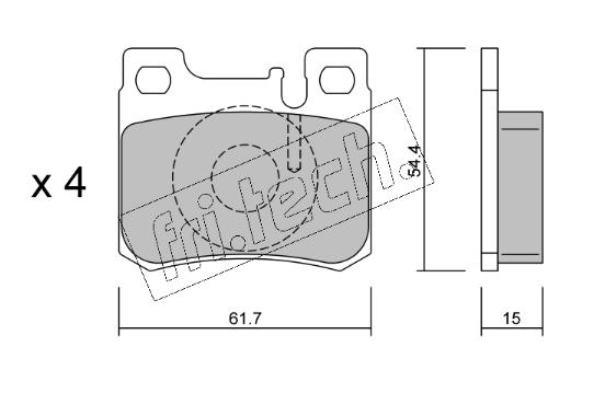 Jeu de 4 plaquettes de frein arrière MERCEDES W201/W124