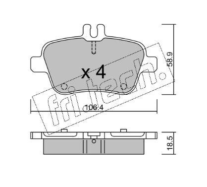 Jeu de 4 plaquettes de frein arrière MERCEDES CLA C117