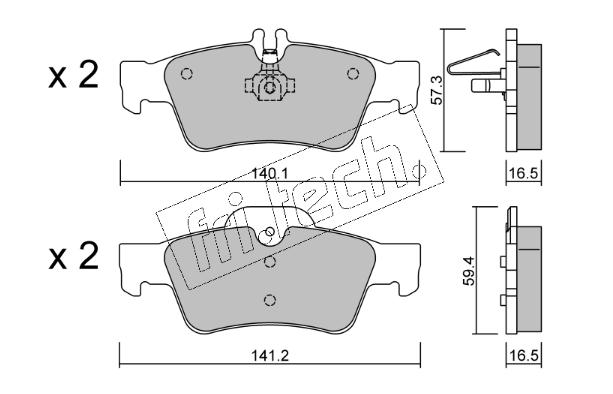 Jeu de 4 plaquettes de frein arrière MERCEDES W211/W212
