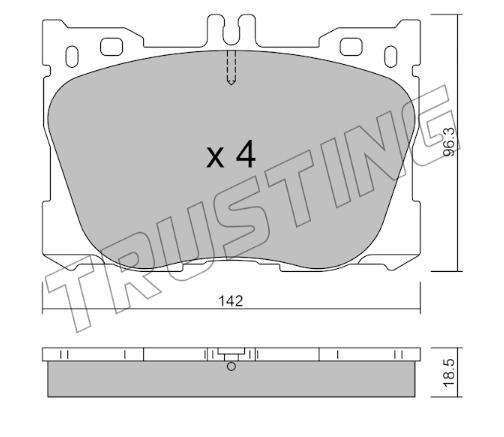 Jeu de 4 plaquettes de frein avant Mercedes W205/W238