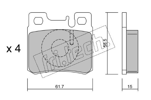 Jeu de 4 plaquettes de frein arrière MERCEDES W202/W210